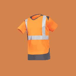 T-SHIRT HV CORTIC Orange fluo et gris