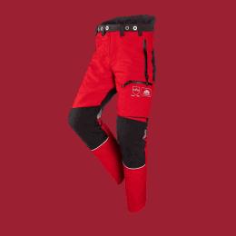 Pantalon anti-coupure rouge et gris